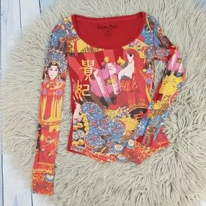 Lucky Tees Brand Red Asian Thermal Shirt Top XS
